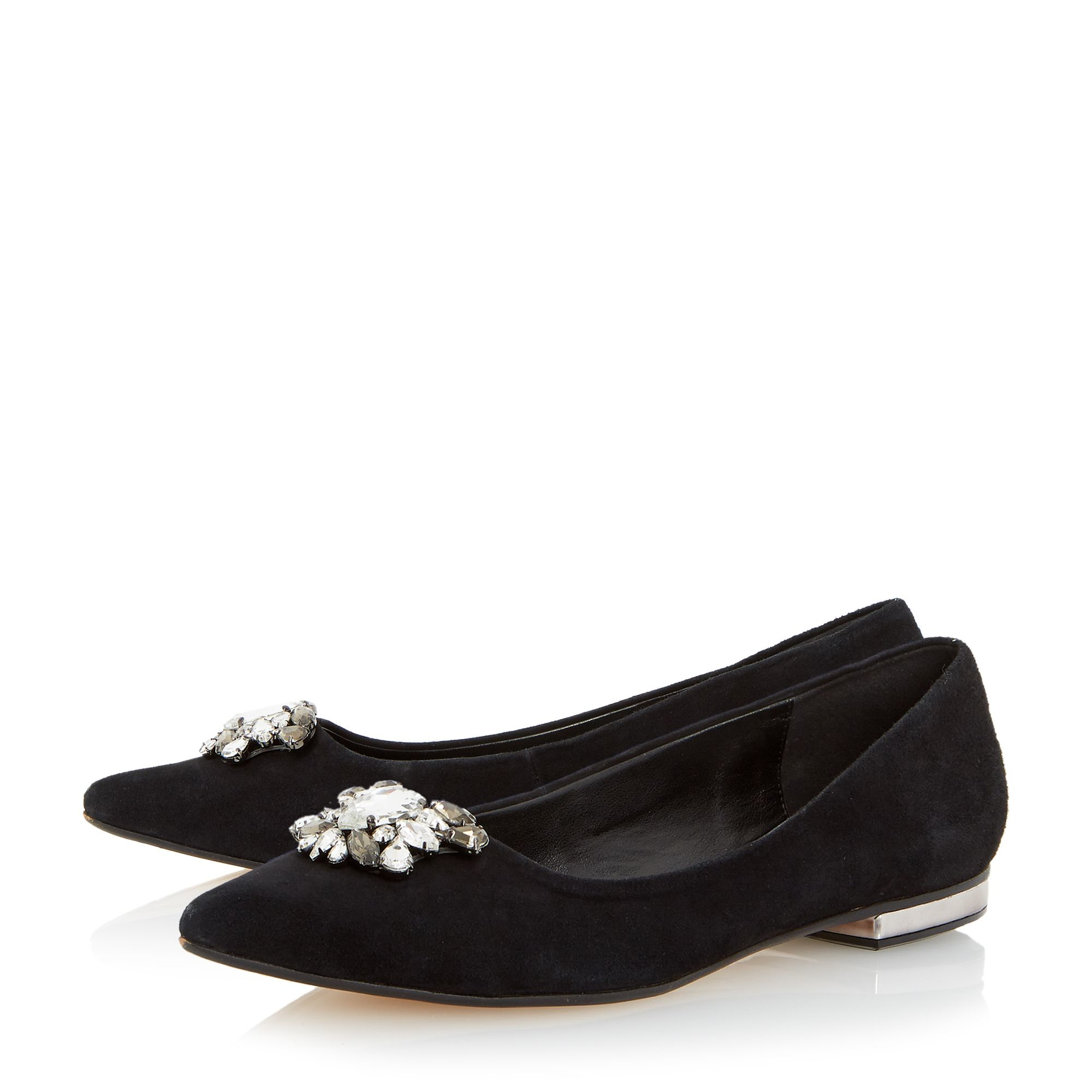 Dune Beaux Jewel Trim Pointed Toe Flat Shoes In Black   Lyst