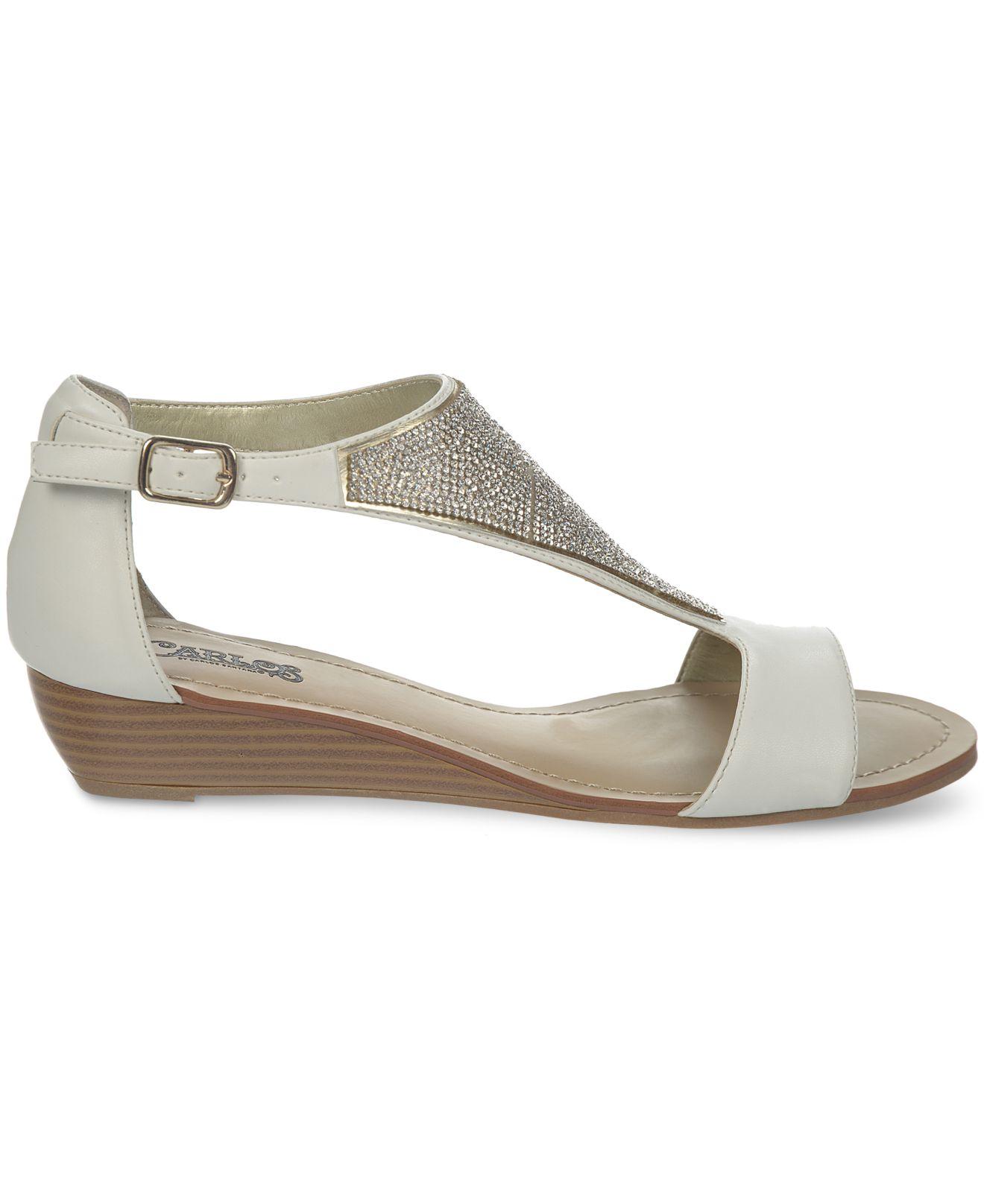 carlos by carlos santana glisten pave wedge sandals in