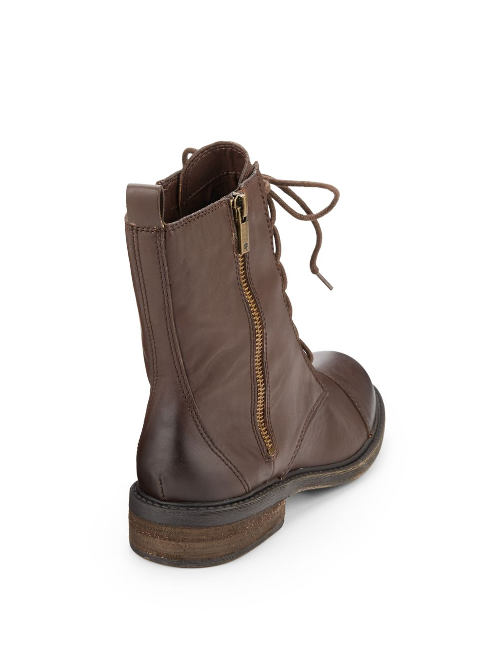 Lucky brand Nolina Leather Combat Boots in Brown | Lyst