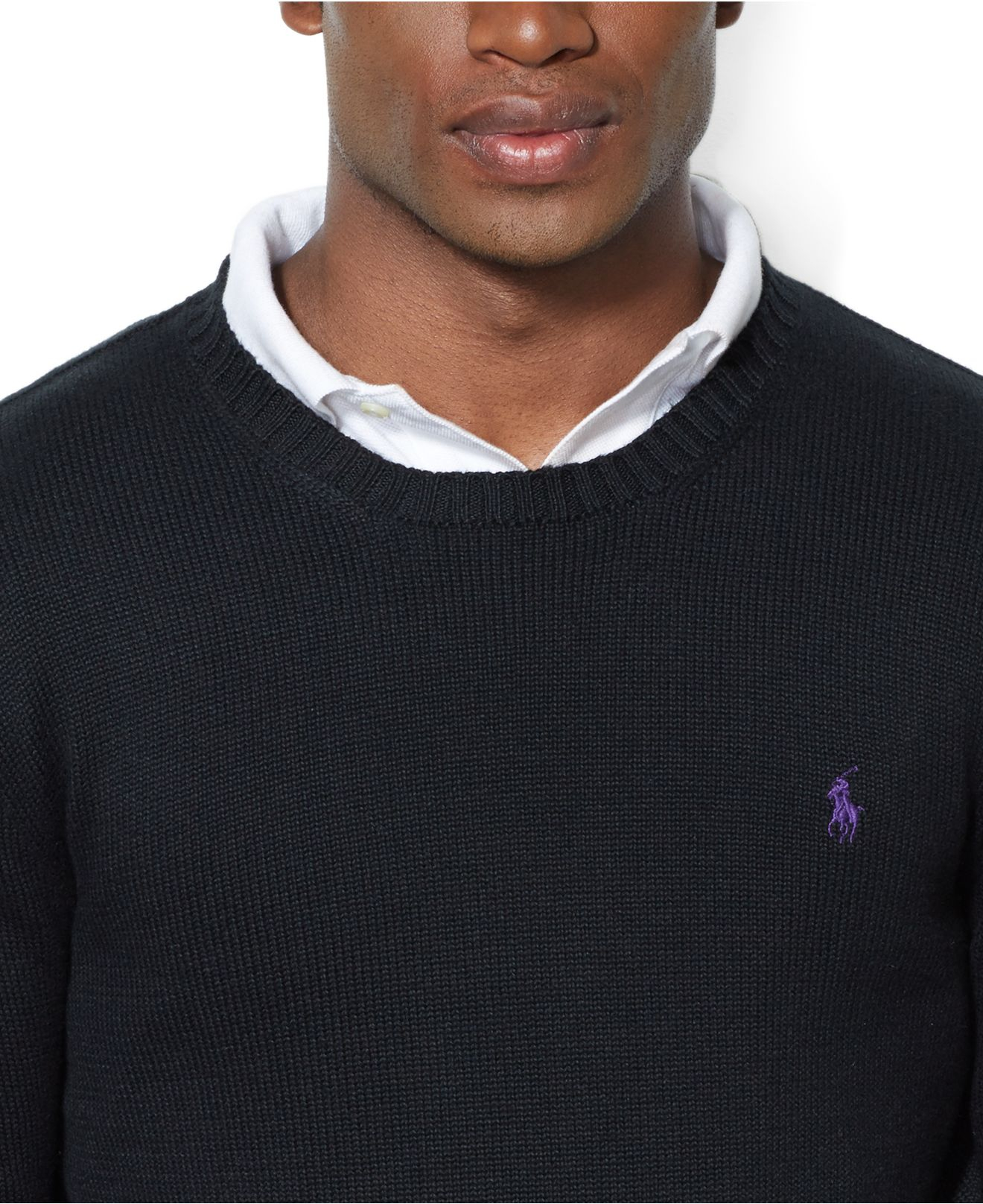Polo ralph lauren Crew Neck Cotton Pullover in Black for Men | Lyst