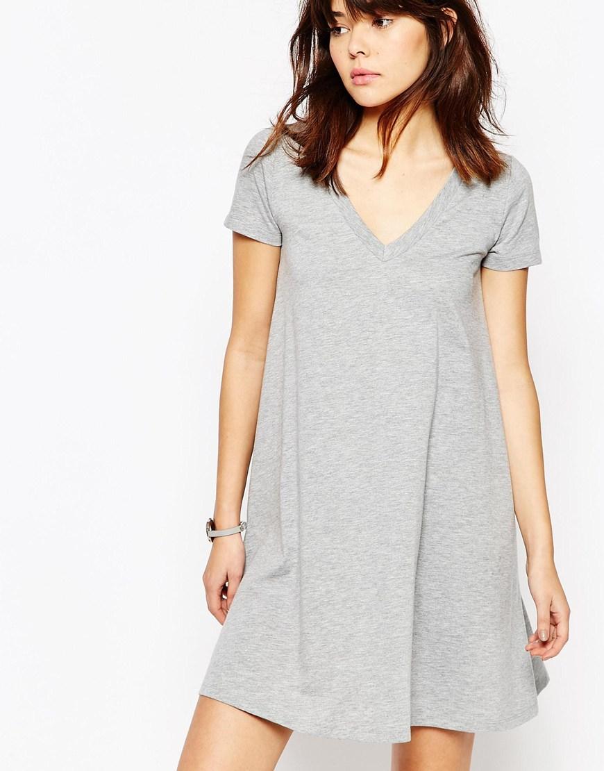 6a236c40d579 ASOS V Neck Swing T-shirt Dress in Gray - Lyst