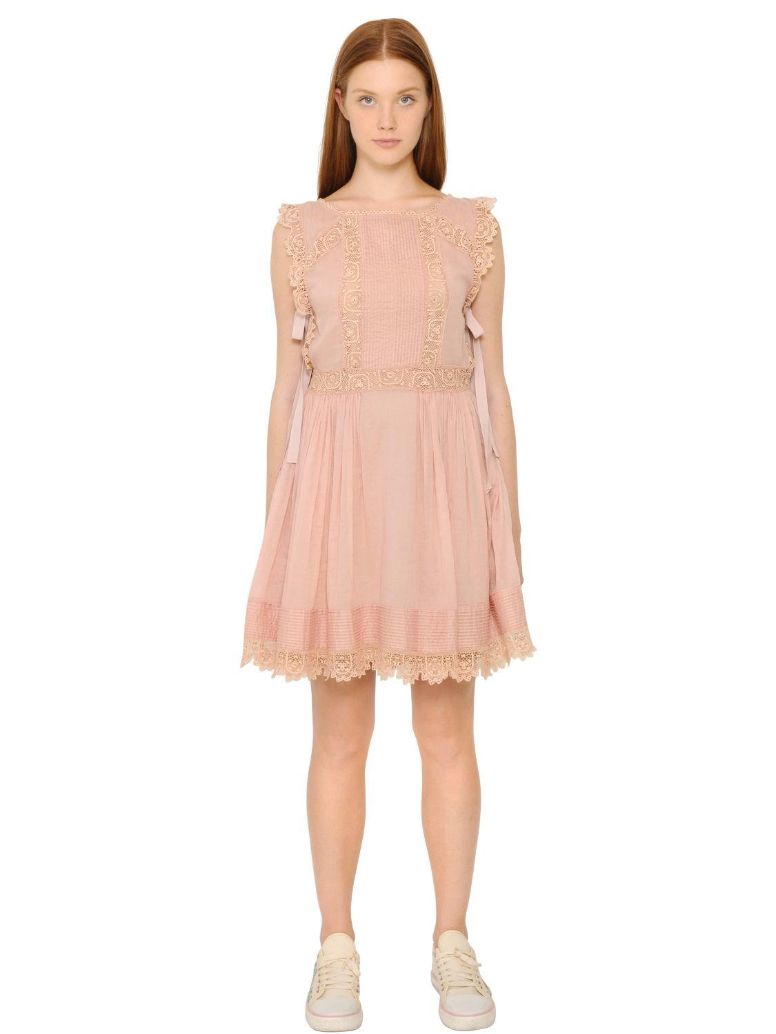 Red Valentino Spring 2016: Red Valentino Cotton Voile & Crochet Lace Dress In Pink