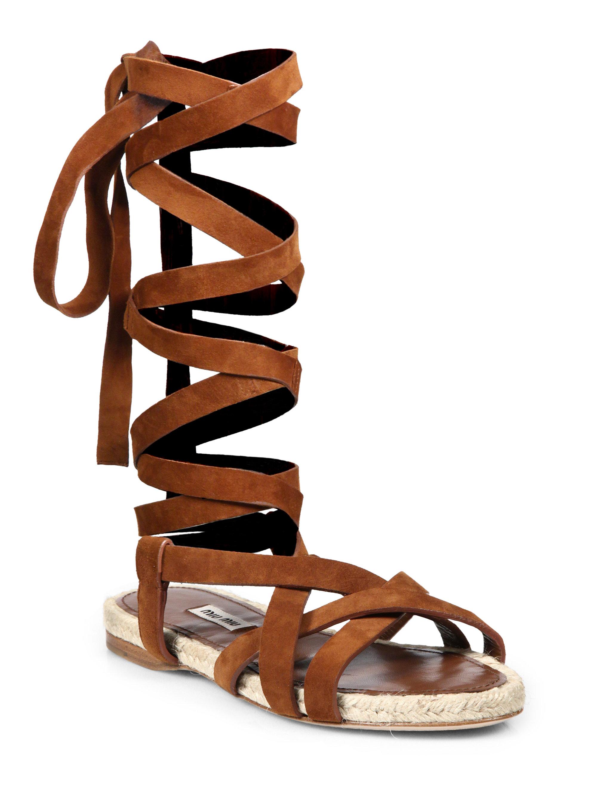 Miu Miu Suede Amp Espadrille Lace Up Flat Sandals In Brown