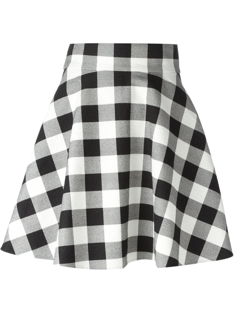 Dolce & gabbana Checkered A-Line Skirt in White | Lyst