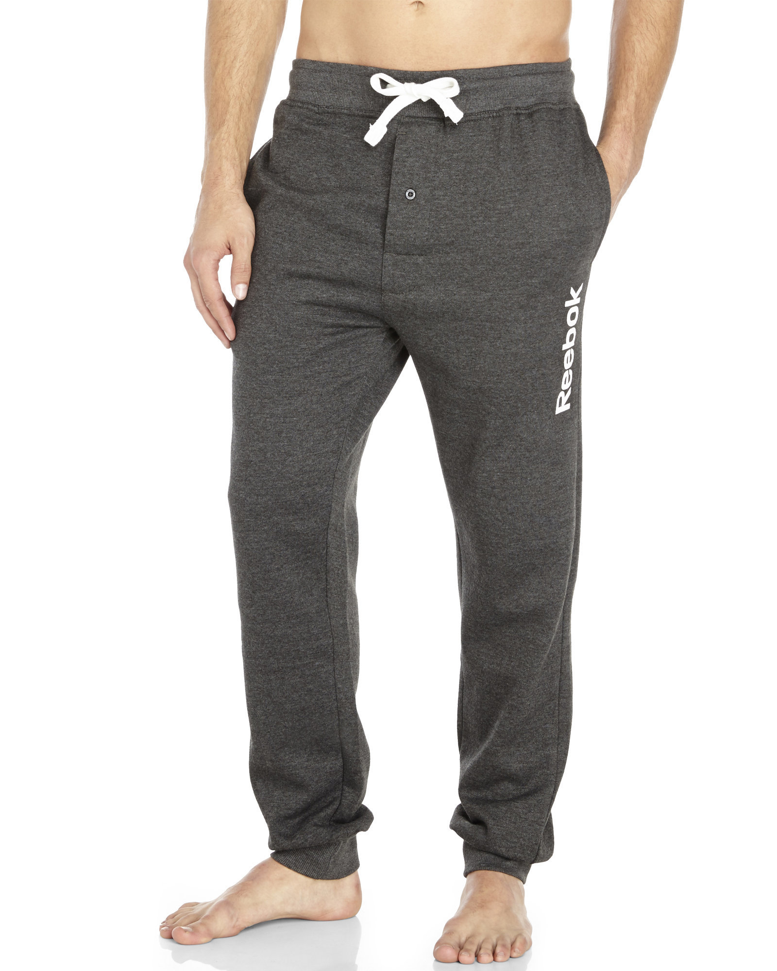 Lyst - Reebok Knit Drawstring Lounge Pants in Gray for Men 9923307e36bc
