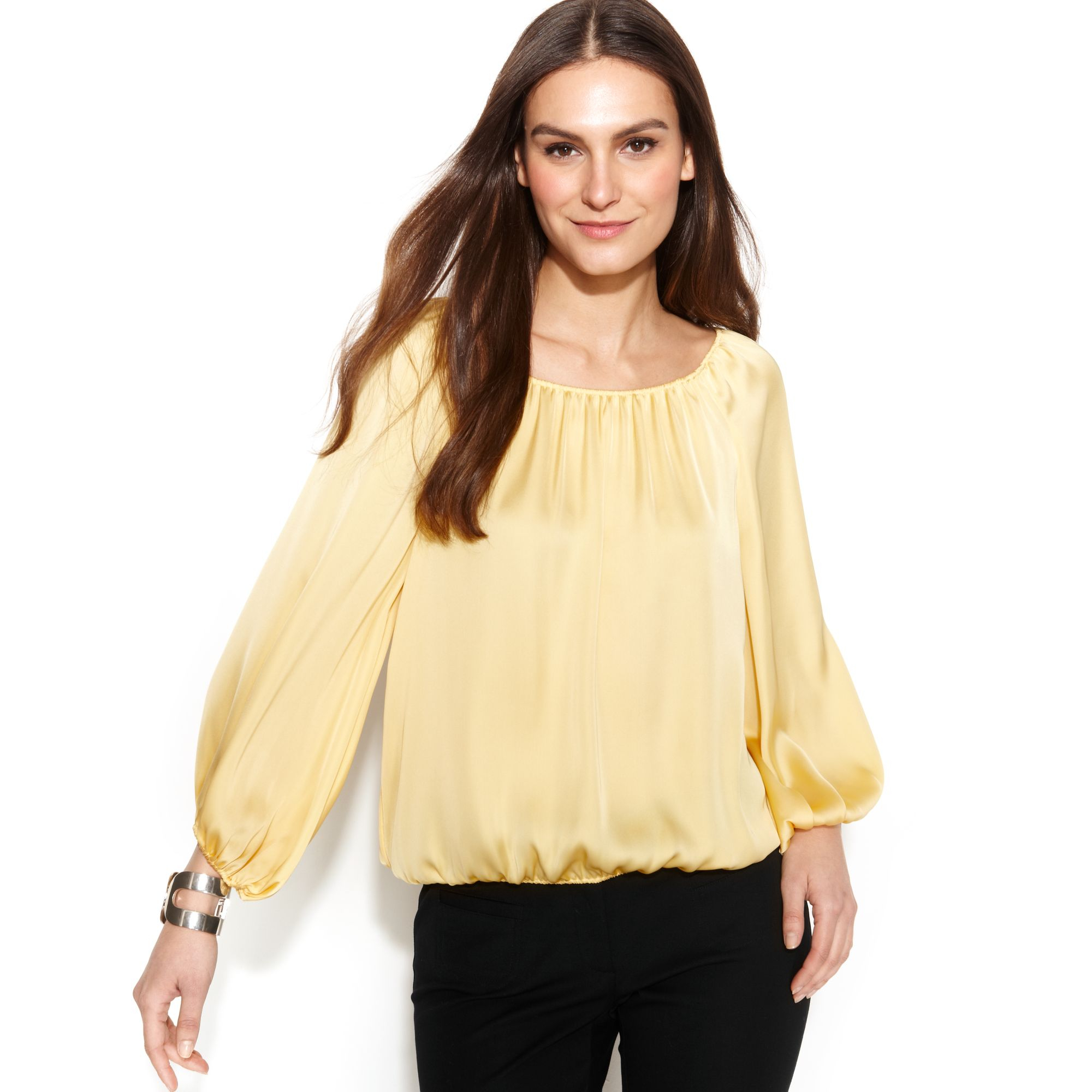 429b8af4f97983 Lyst - Vince Camuto Longsleeve Peasant Blouse in Metallic