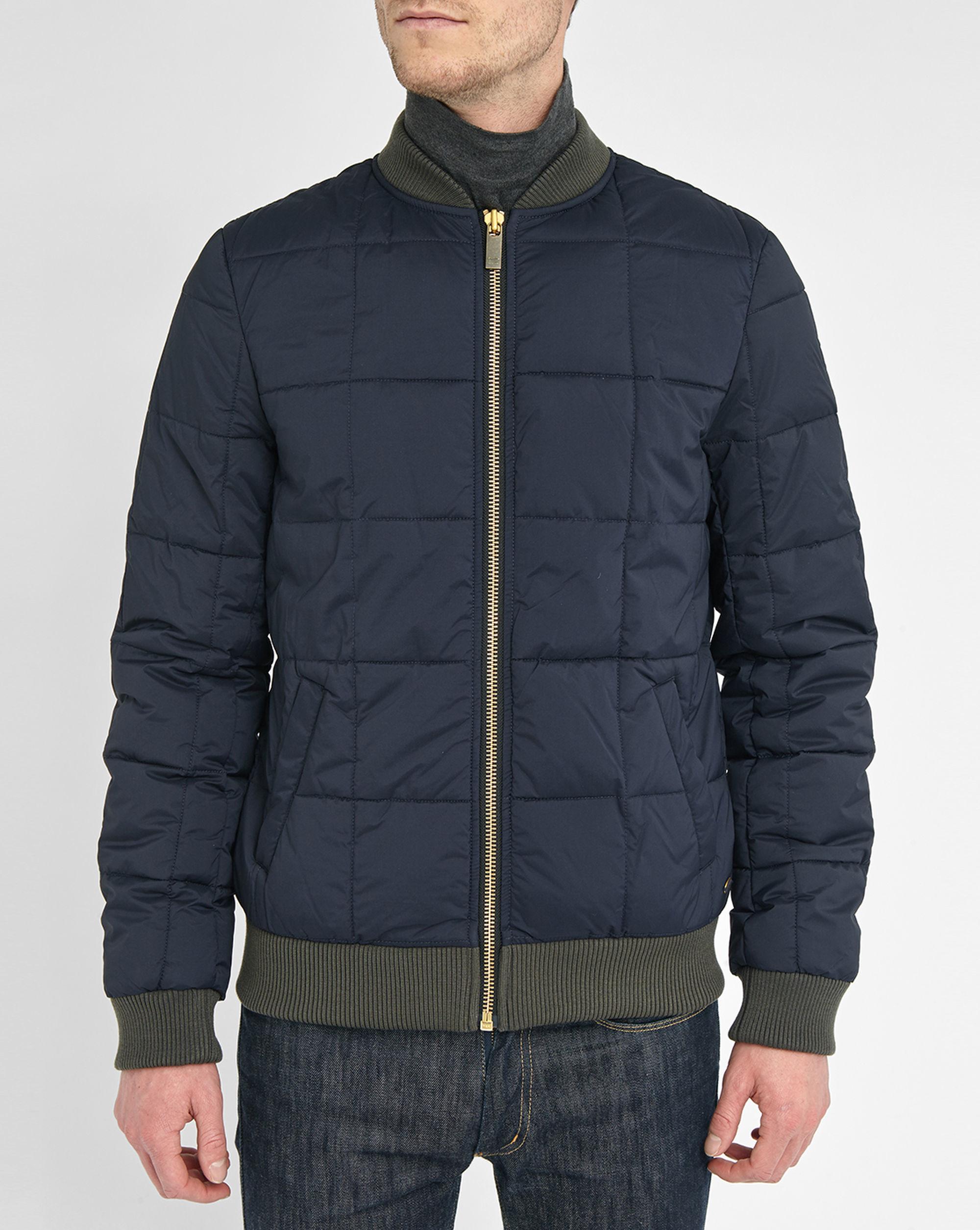 scotch soda blue quilted nylon bomber jacket in blue for. Black Bedroom Furniture Sets. Home Design Ideas
