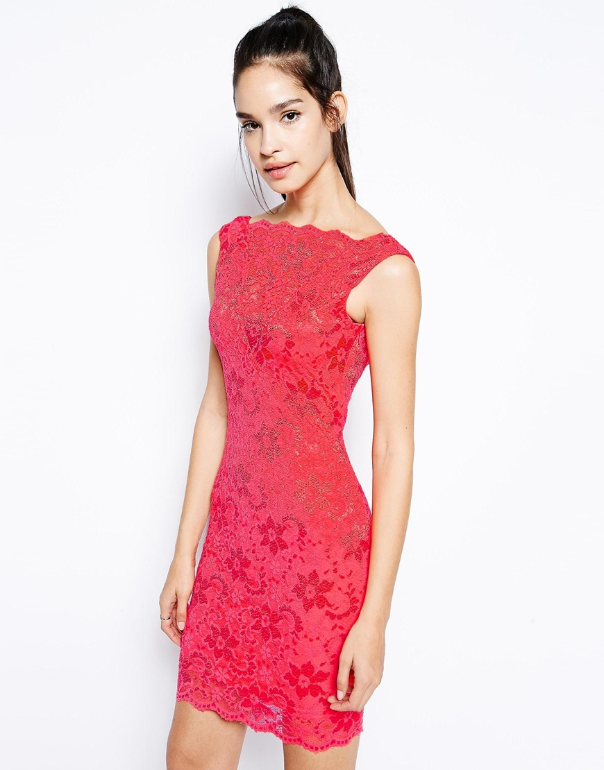 Lyst - Lipsy Cowl Back Lace Dress In Red-2603