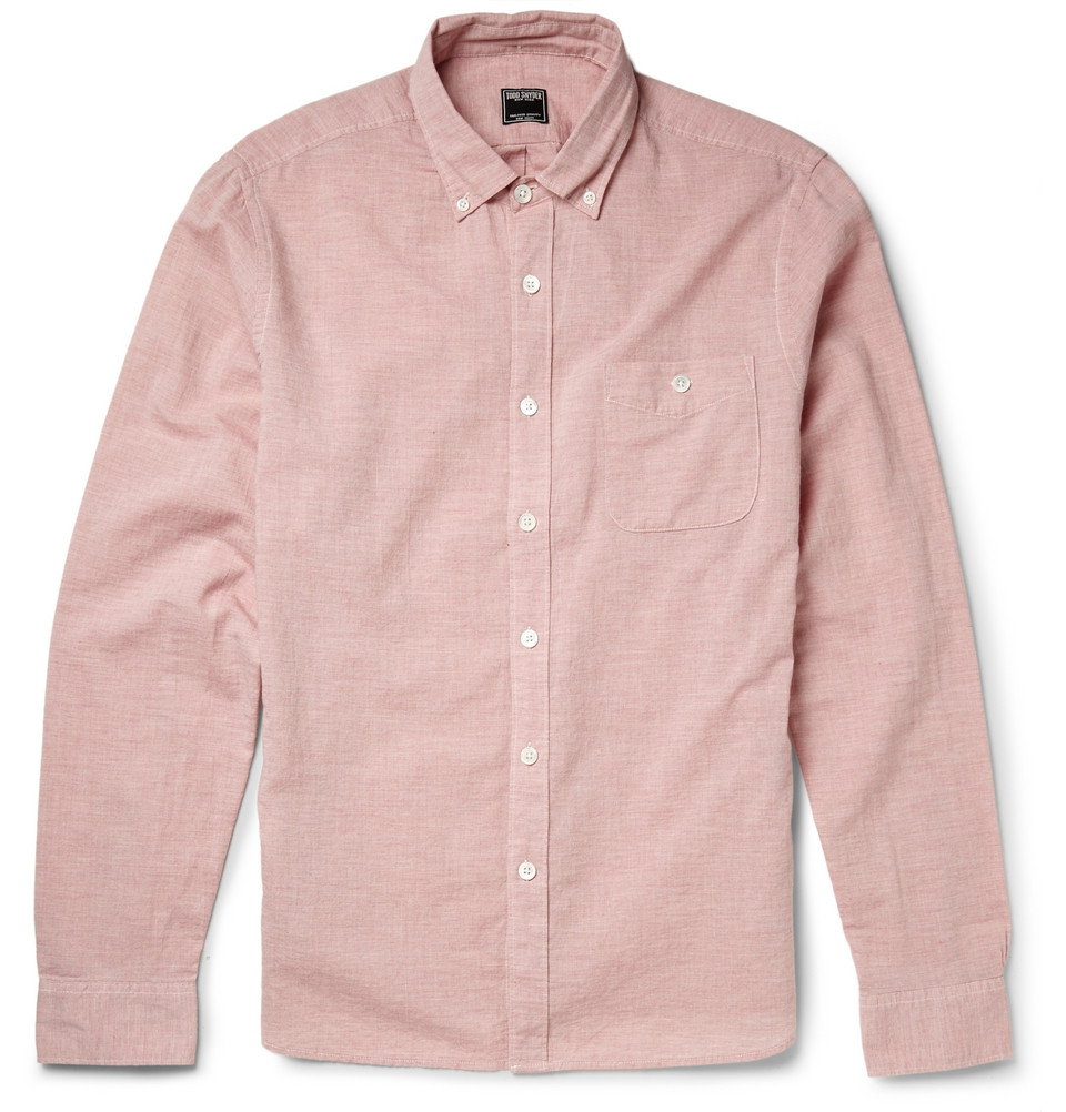 Todd Snyder Button Down Collar Cotton Chambray Shirt In