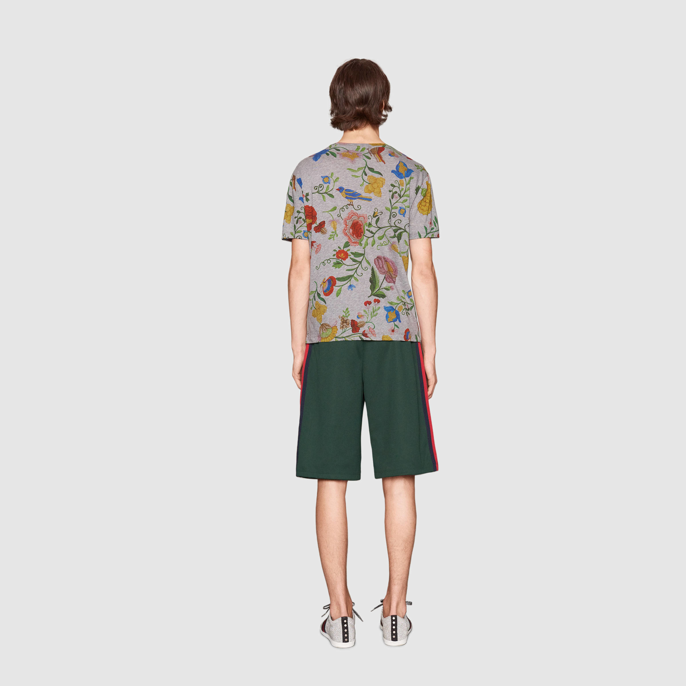 db26ec863d650 Gucci Floral Print Cotton T-shirt in Gray for Men - Lyst