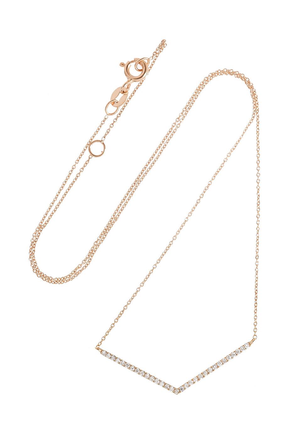 Diane Kordas Explosion Bolo Suede, 18-karat Rose Gold And Diamond Necklace