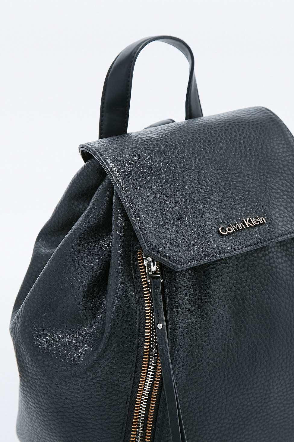 lyst calvin klein nora black zip backpack in black. Black Bedroom Furniture Sets. Home Design Ideas