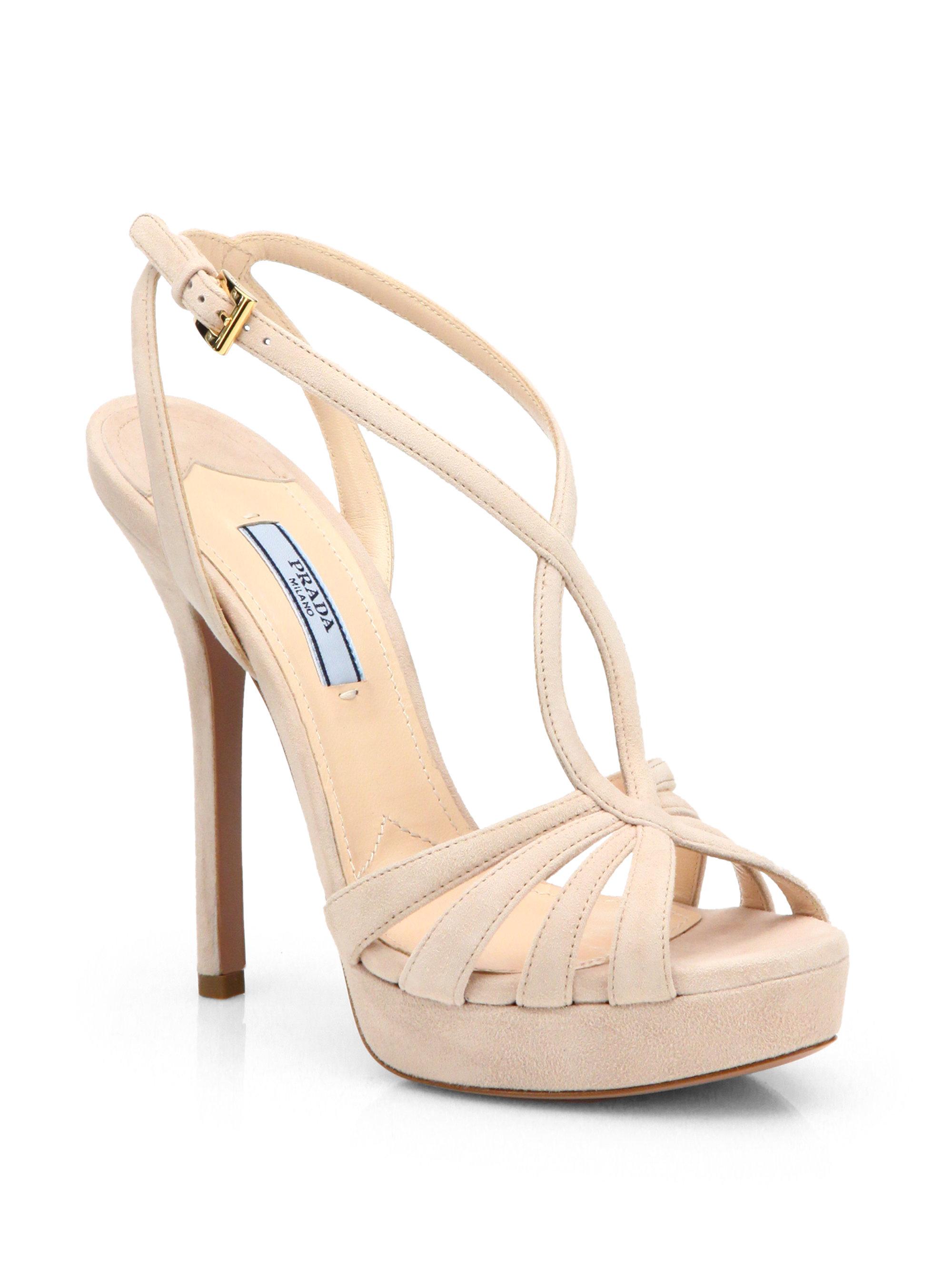2f8dc24933e Lyst - Prada Strappy Suede Platform Sandals in Pink