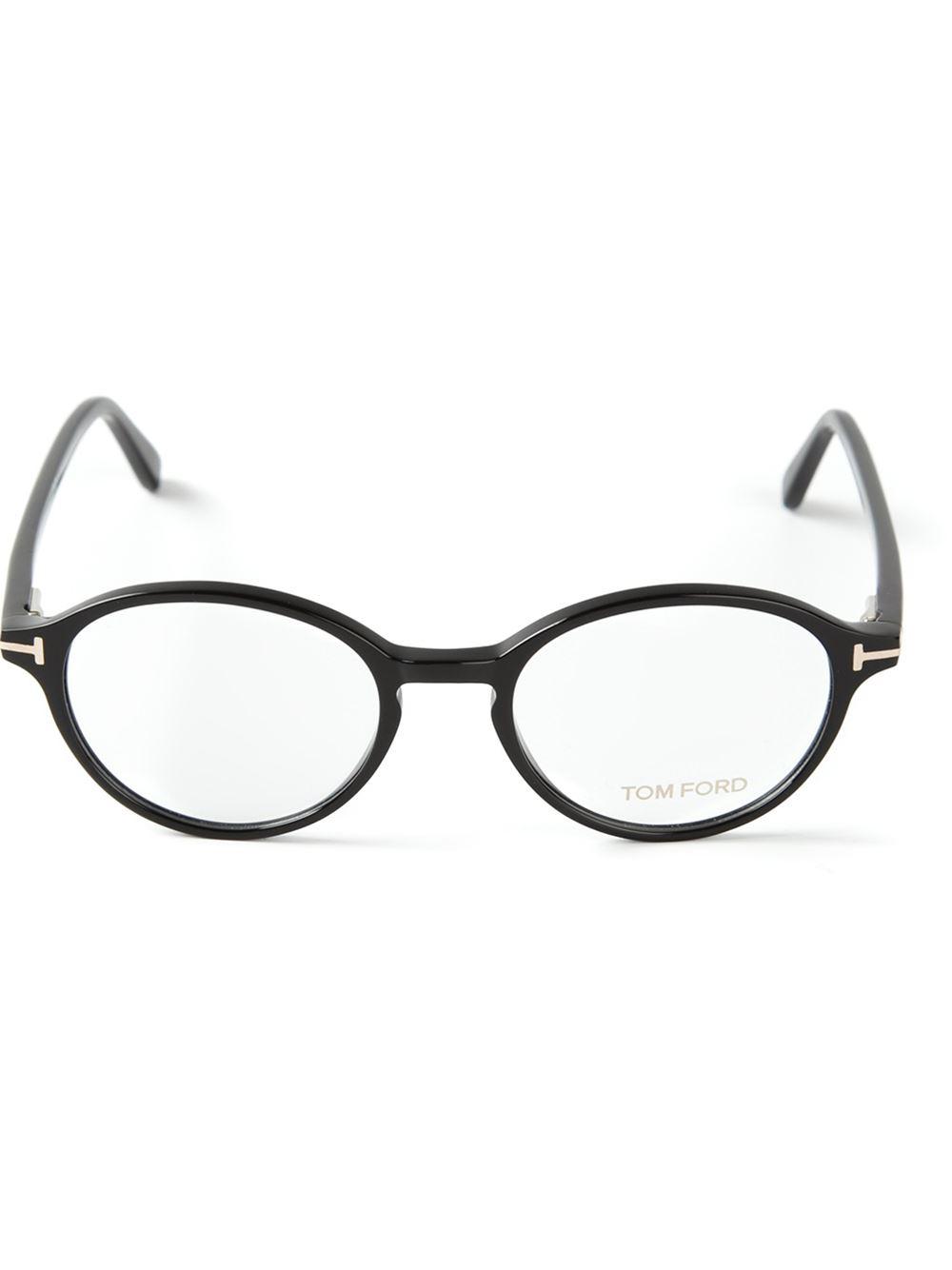 ae7961972031d Tom Ford Round Frame Glasses in Black - Lyst