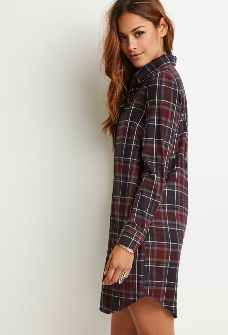 Forever 21 Plaid Flannel Shirt Dress In Gray Lyst