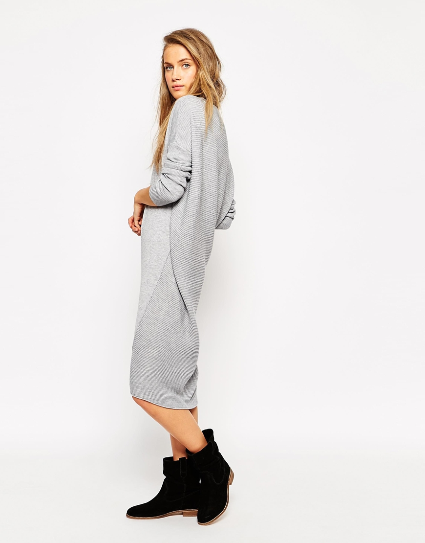 Asos Oversized Jumper Dress in Gray | Lyst