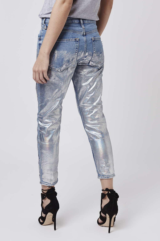 lyst topshop petite metallic hayden jeans in blue. Black Bedroom Furniture Sets. Home Design Ideas