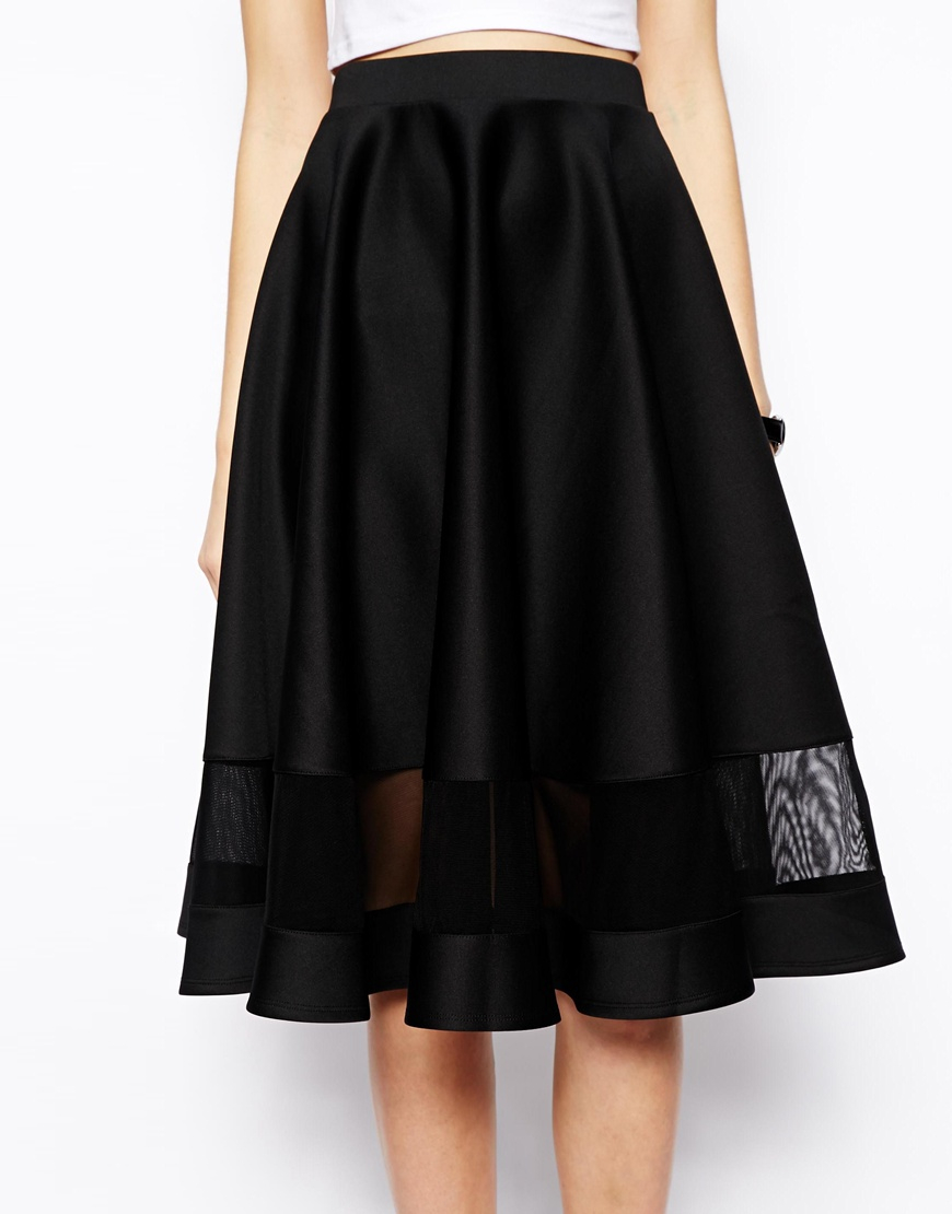 asos midi skirt in scuba with sheer panel in black lyst