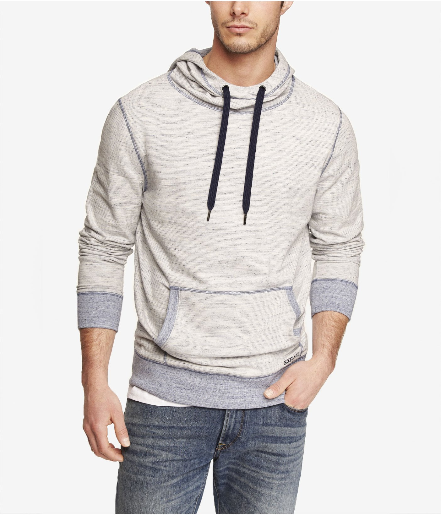 Express Micro Stripe Funnel Neck Hoodie in White for Men | Lyst