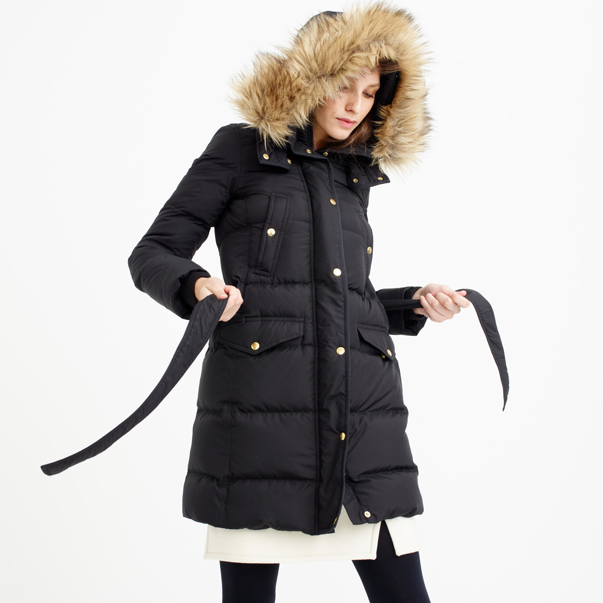 J.crew Petite Wintress Puffer Coat With Faux-fur Hood in Black | Lyst