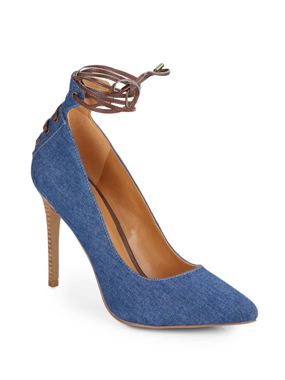 124602779bb Lyst - Nine West Ebba Denim Ankle-wrap Pumps in Blue