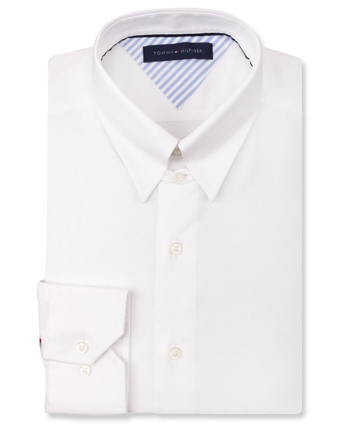 Lyst tommy hilfiger white tab collar dress shirt in for White non iron dress shirts