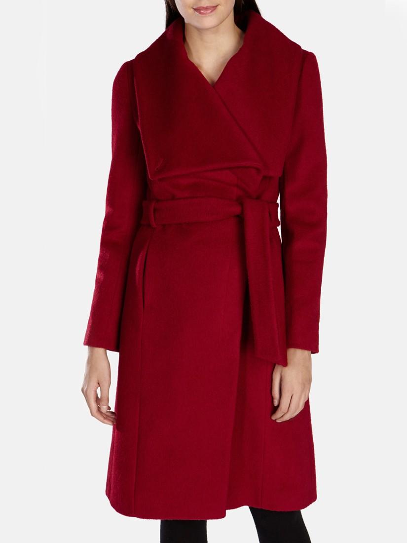 f7542f86e50 Karen Millen Belted Wrap Coat in Red - Lyst