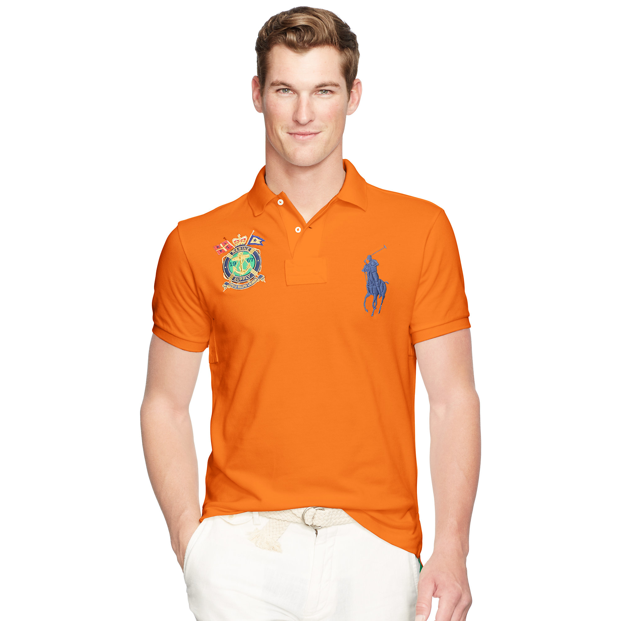3d214b83f ... discount lyst polo ralph lauren slim fit big pony polo shirt in orange  for men d30f0