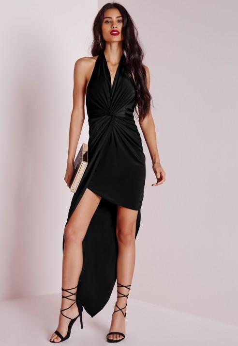 Halter black maxi dress