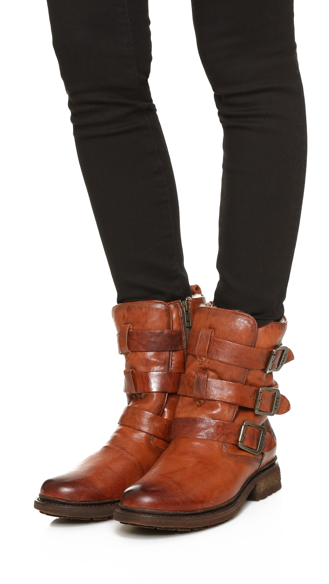Frye Valerie Shearling Strappy Boot