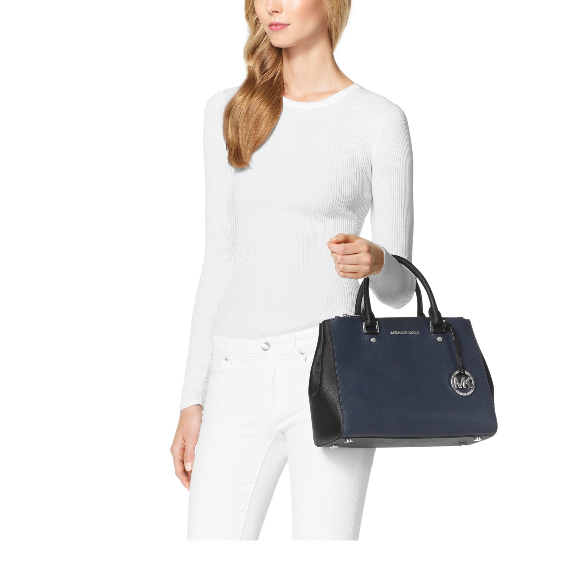 Lyst Michael Kors Sutton Medium Two Tone Leather Satchel In Blue Bag Gallery