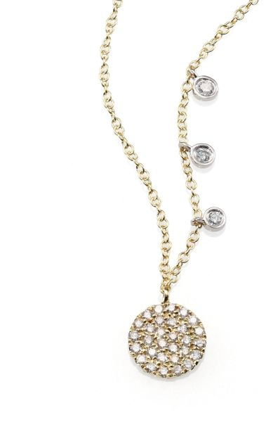 meira t 14k yellow gold disc necklace in gold lyst