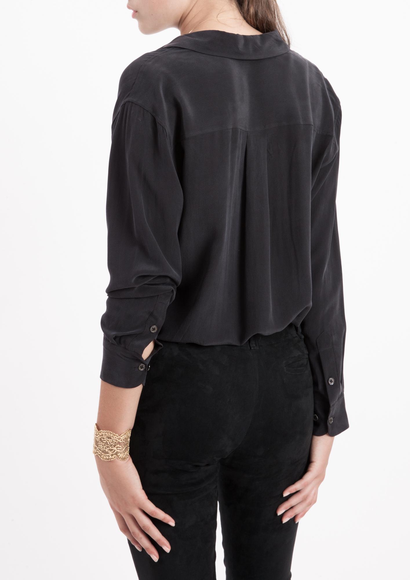 Equipment true black daddy silk shirt in black lyst for Equipment black silk shirt
