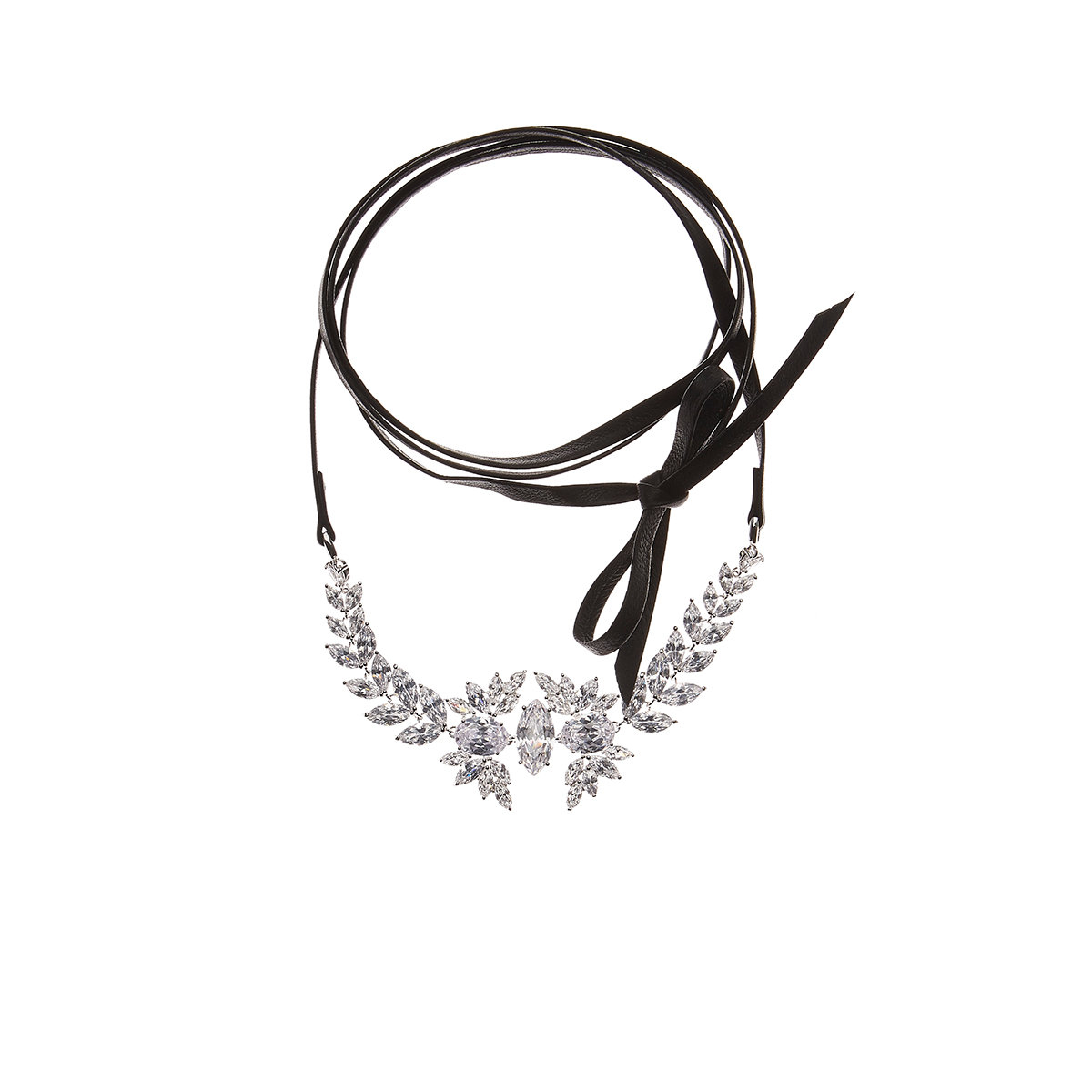 Fallon Monarch Leather & Crystal Choker Necklace KPNTgdENDW