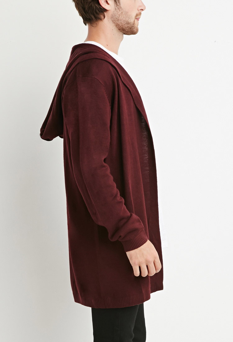 Forever 21 Hooded Longline Cardigan in Purple for Men | Lyst