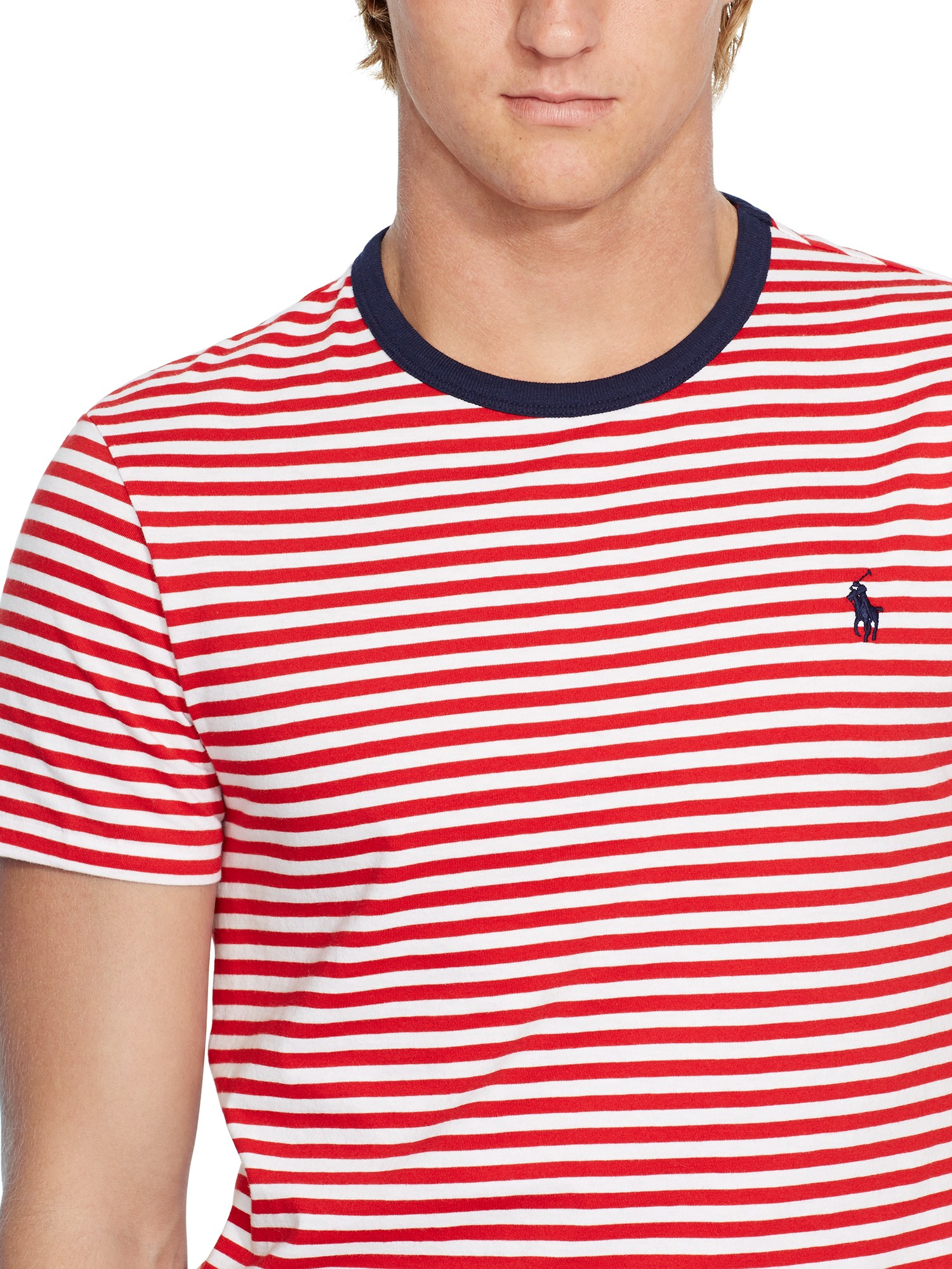 Lyst polo ralph lauren custom fit stripe t shirt in red for Red white striped polo shirt