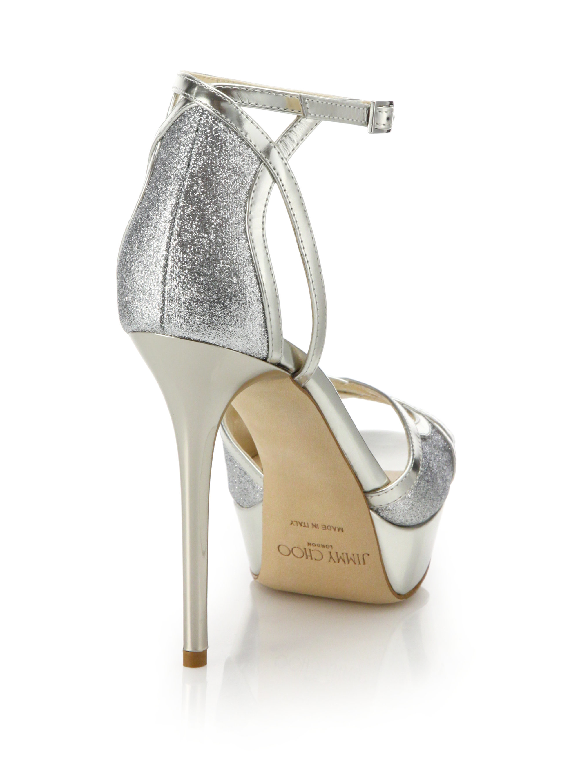 274778a126a2 Lyst - Jimmy Choo Laurita 135 Glittered Metallic Leather Platform Sandals  in Metallic