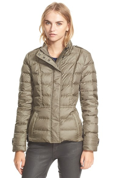 Burberry brit 'Dalesbury' Quilted Down Jacket in Gray | Lyst