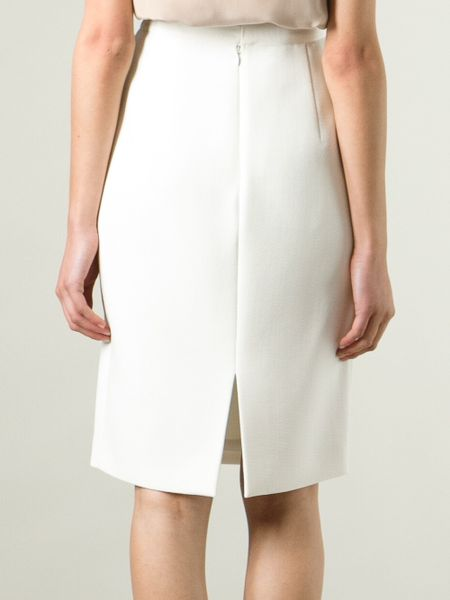 Giambattista Valli High Waisted Pencil Skirt in White | Lyst