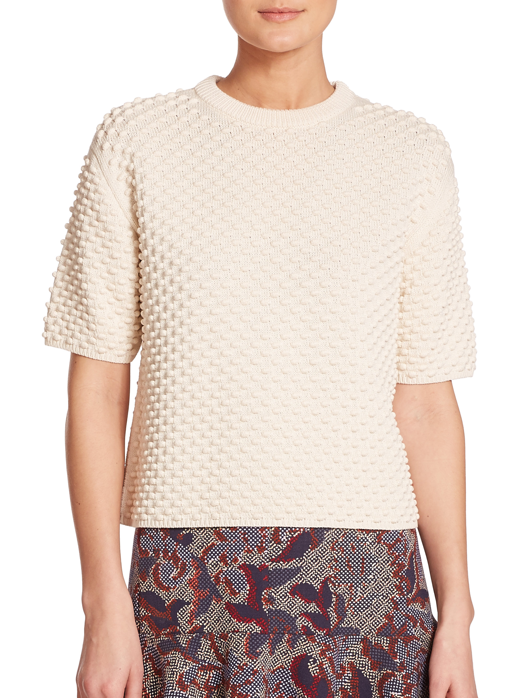 Tory burch Popcorn Stitch Short-sleeve Sweater in White | Lyst