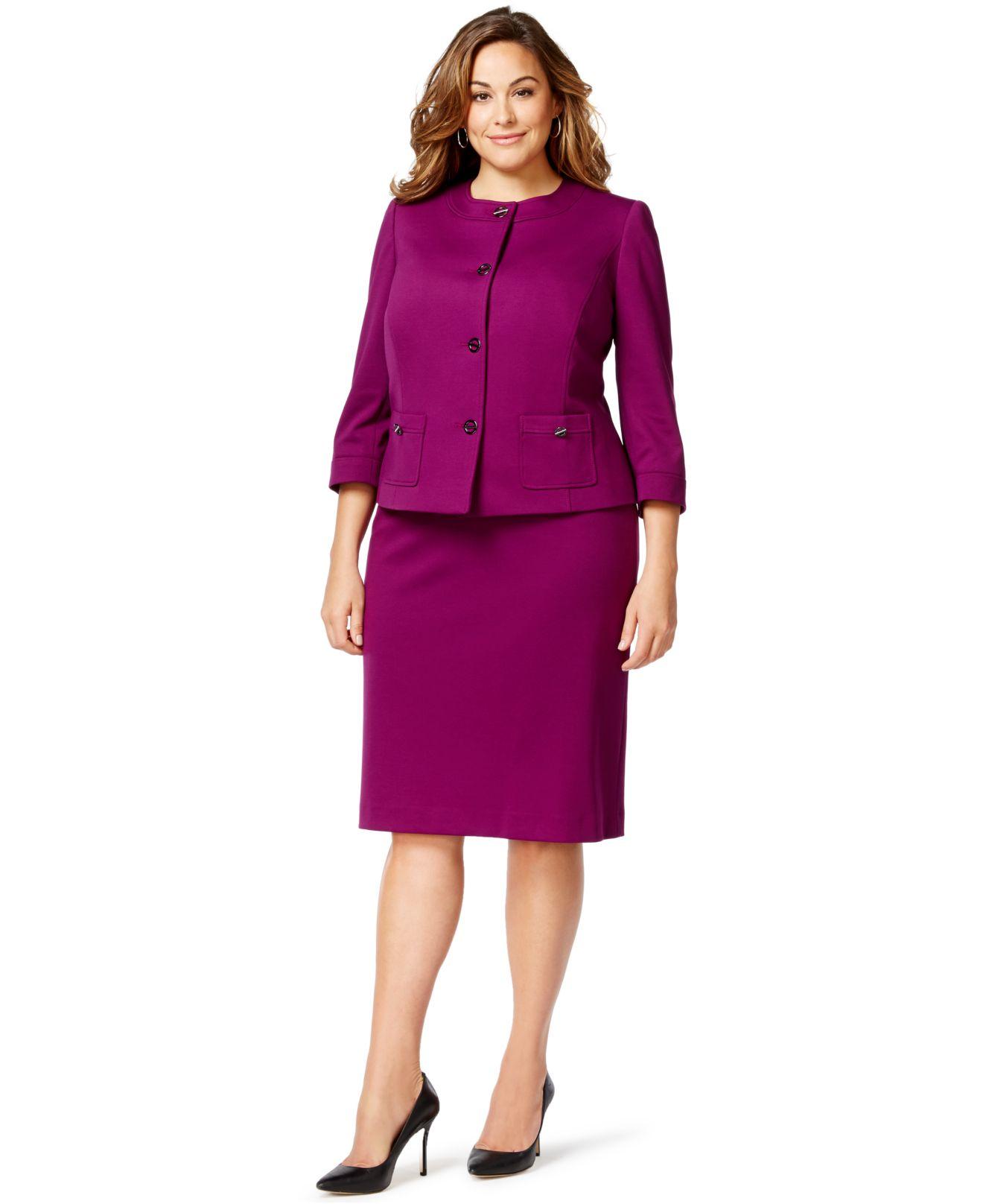 Women\'s Purple Plus Size Ponte Turn-key Skirt Suit