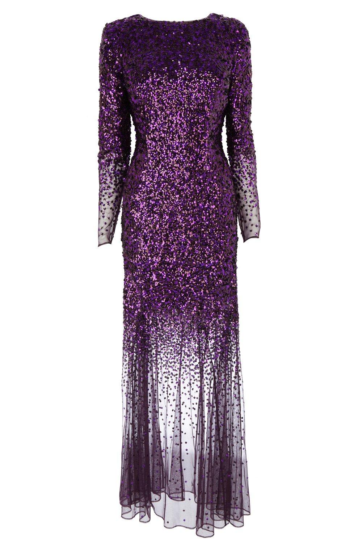 Lyst Coast Stacie Sequin Maxi Dress In Purple