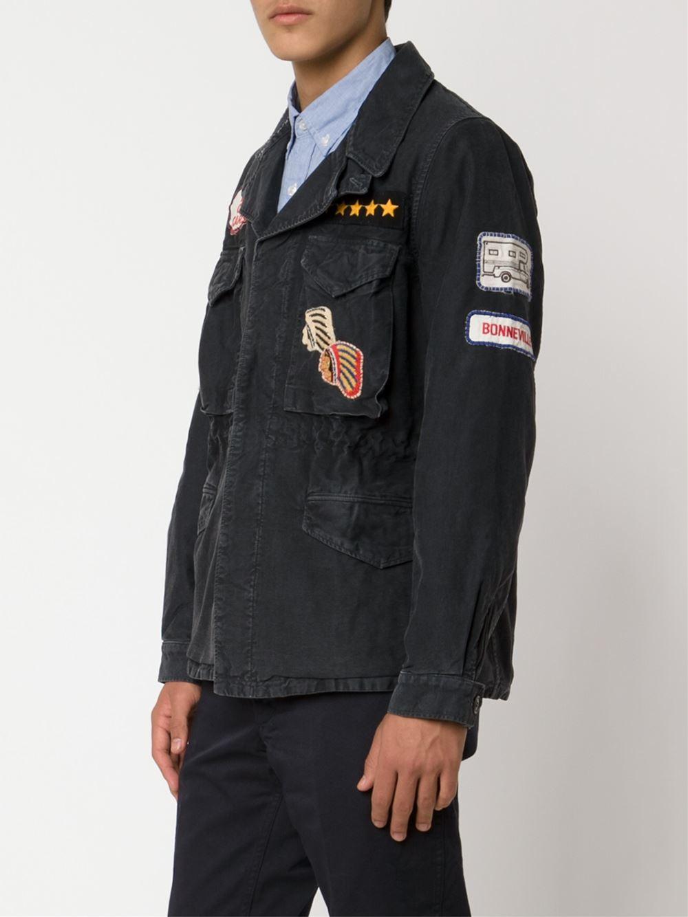 Visvim Patches Embellished Military Jacket In Blue For Men | Lyst