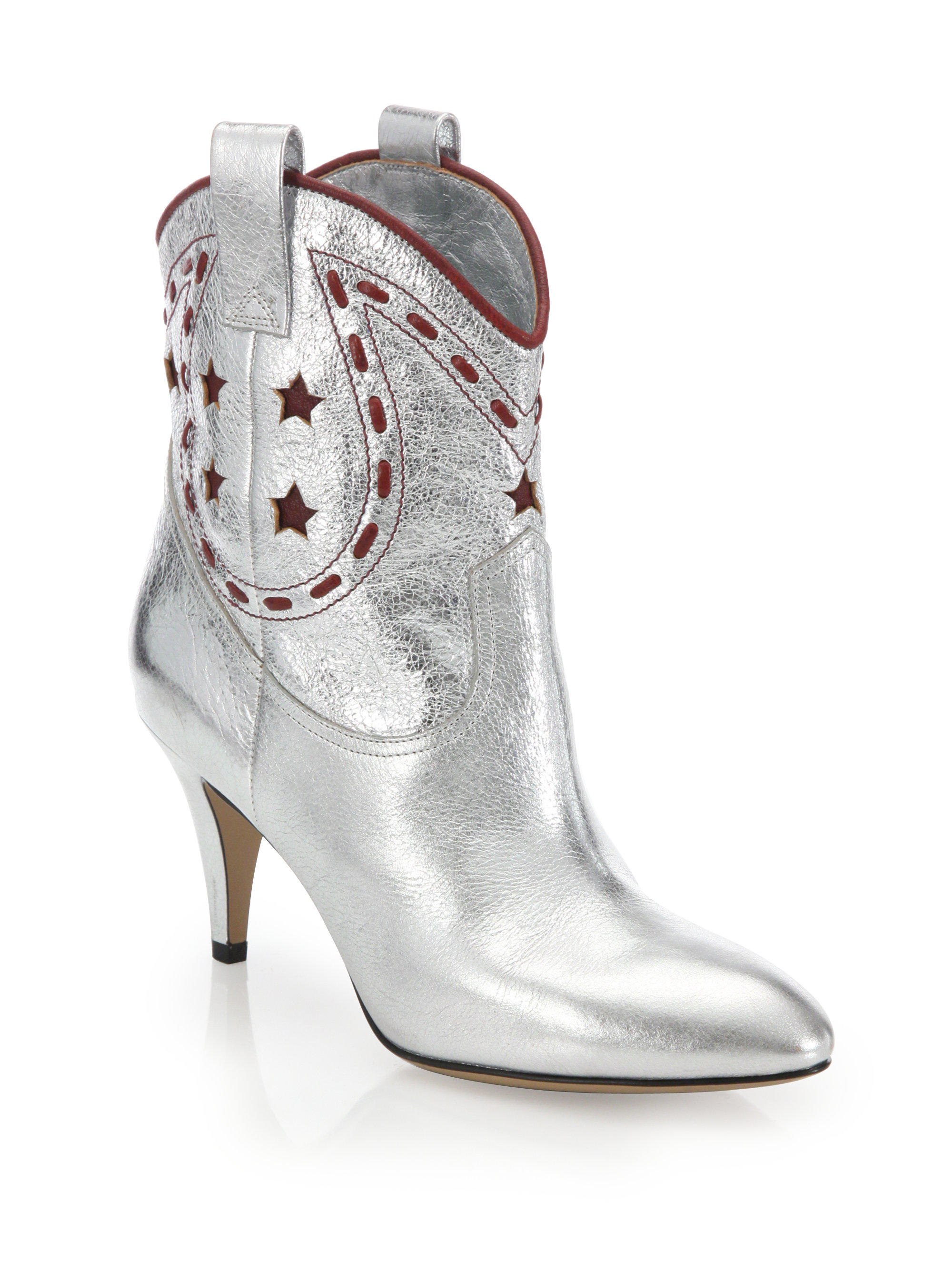 Marc jacobs Georgia Metallic Leather Cowboy Boots in Metallic | Lyst