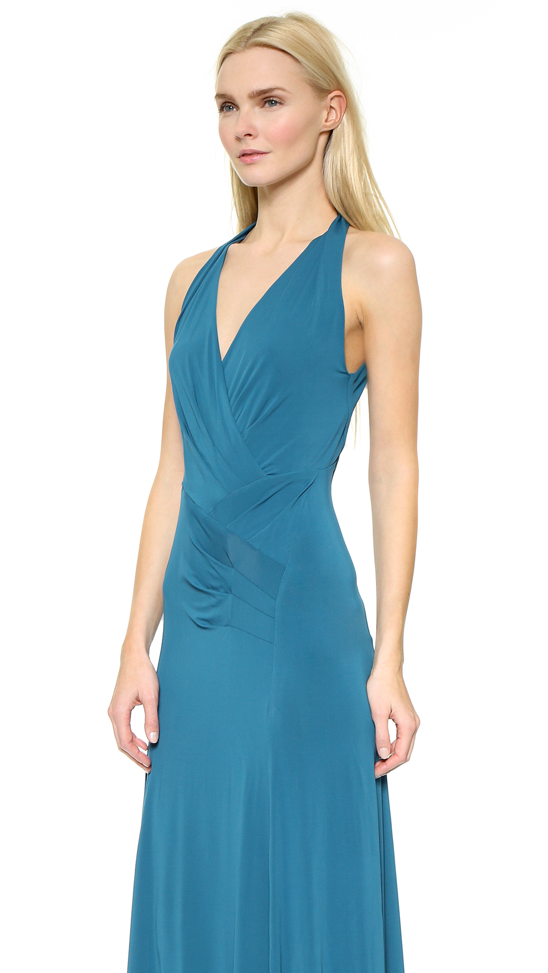 Lyst - Donna Karan Sleeveless Draped Gown - Cerulean in Blue