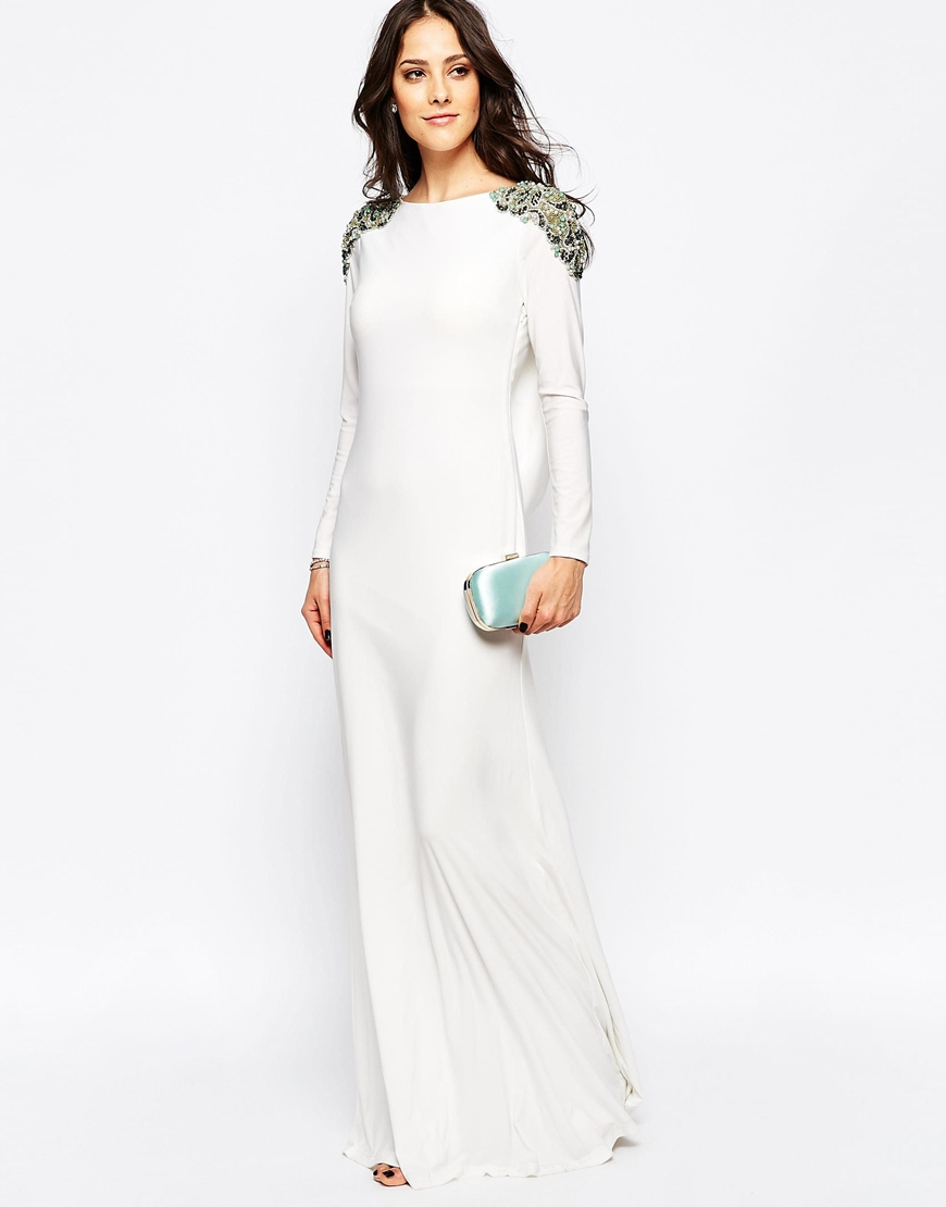 Embellished maxi dress long sleeve