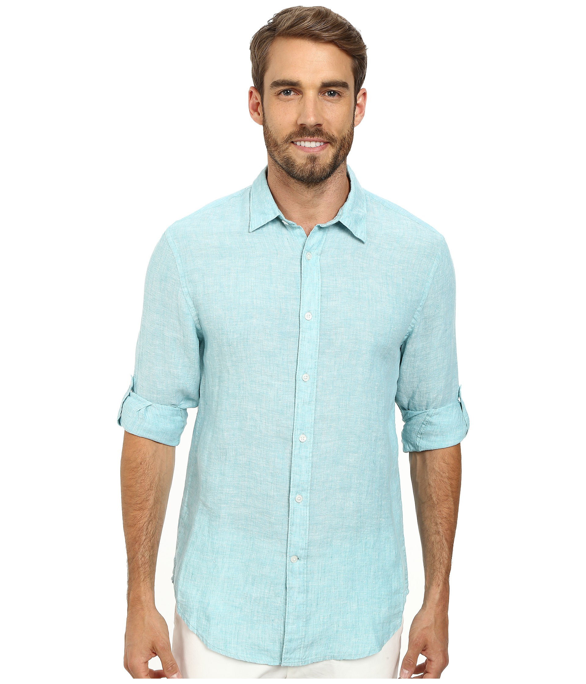 Lyst Perry Ellis Rolled Sleeve Solid Linen Shirt In Blue For Men