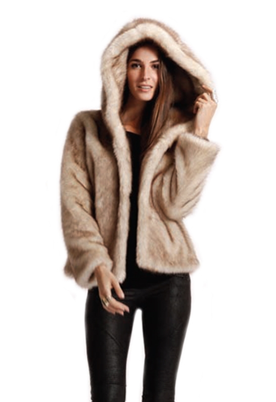 Sw3 Sw3 Bespoke Aspen Hooded Faux Fur Jacket in Natural | Lyst