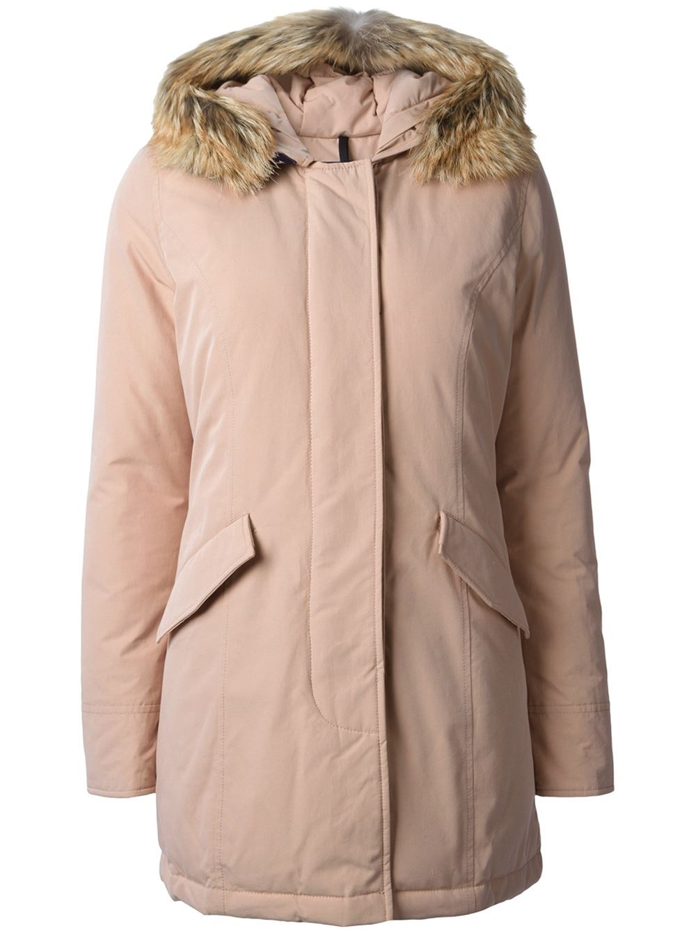 Woolrich Fur Hood Padded Coat in Pink | Lyst