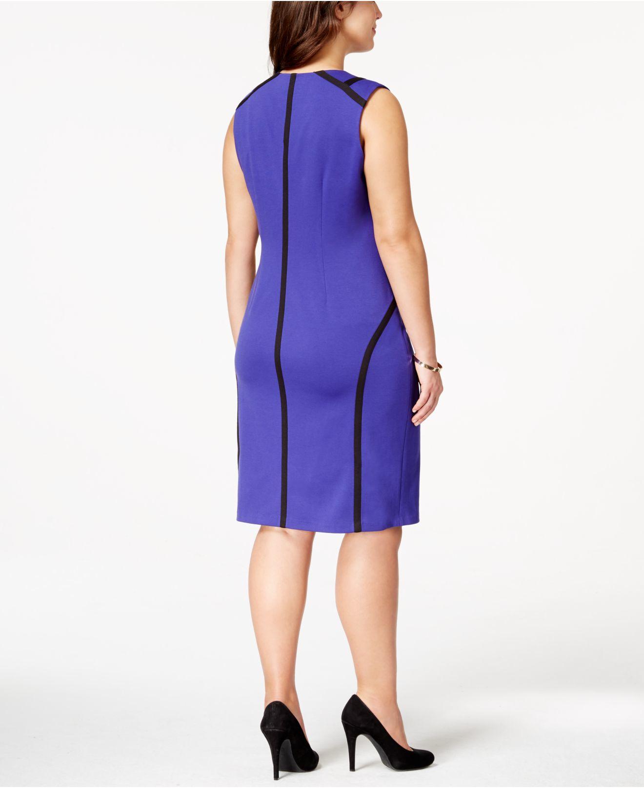 Lyst Calvin Klein Plus Size Zip Front Pipe Trim Sheath Dress In Purple